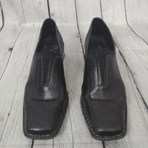 Rieker Black heeled leather loafers shoes 9.5